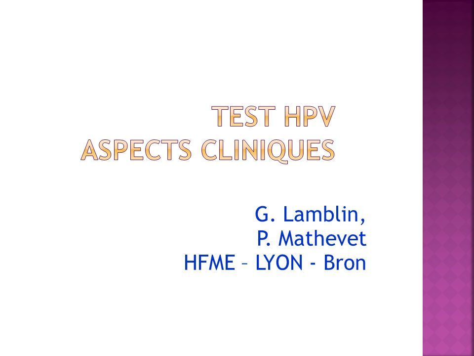 Test HPV Aspects cliniques