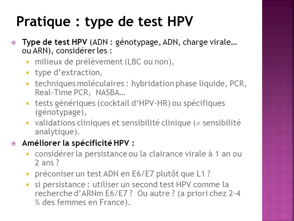 Pratique : type de test HPV