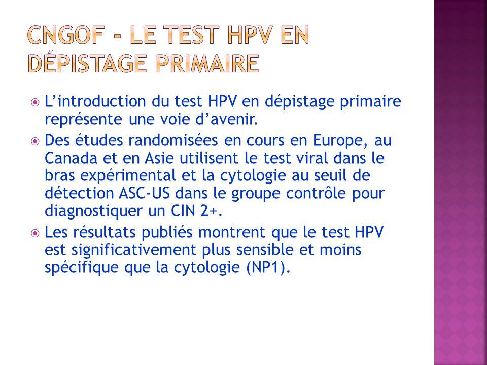 CNGOF - Le test HPV en dépistage primaire