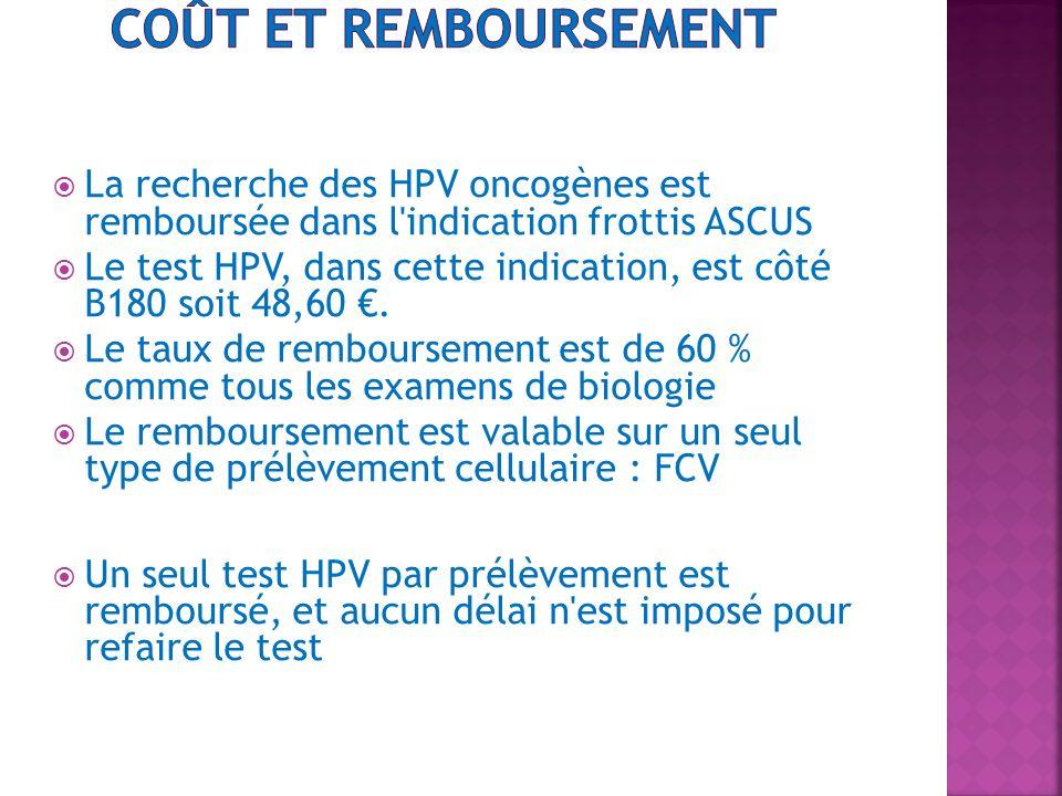 Coût et remboursement La recherche des HPV oncogènes est remboursée dans l indication frottis ASCUS.