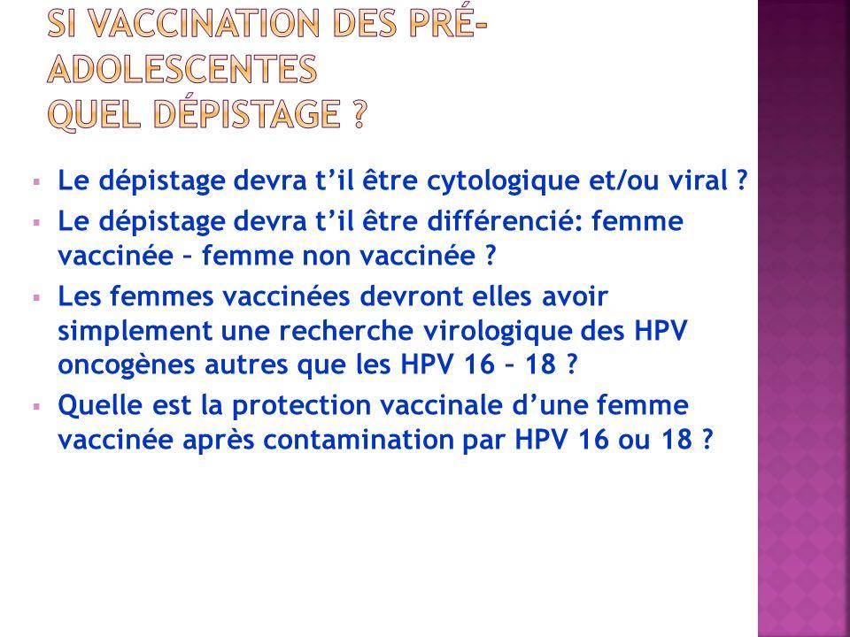 Si vaccination des pré-adolescentes Quel dépistage
