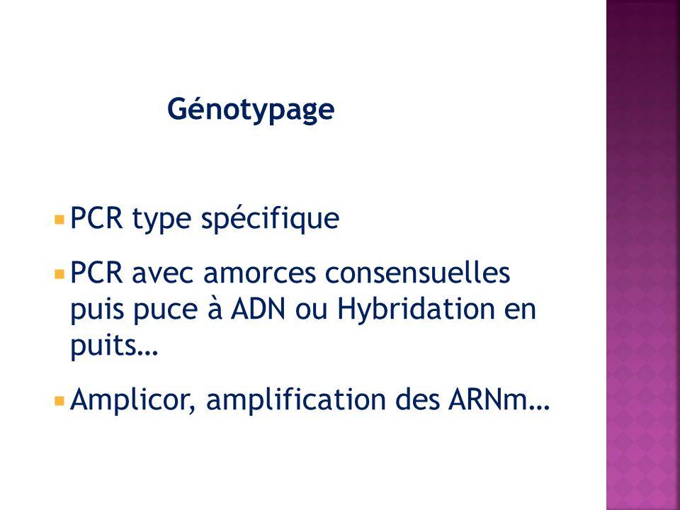 Génotypage PCR type spécifique. PCR avec amorces consensuelles puis puce à ADN ou Hybridation en puits…
