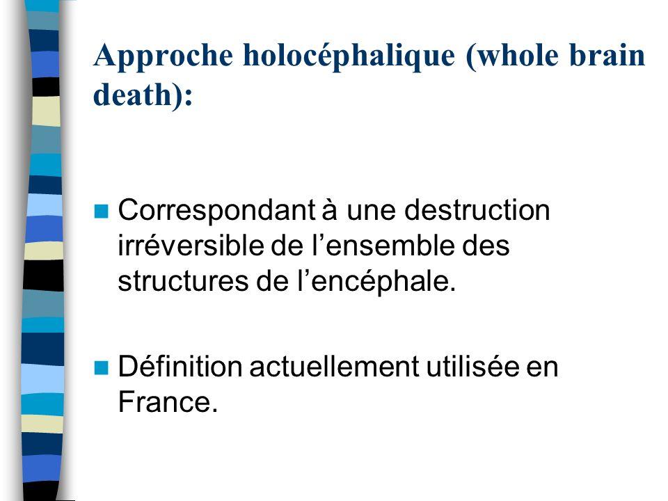 Approche holocéphalique (whole brain death):