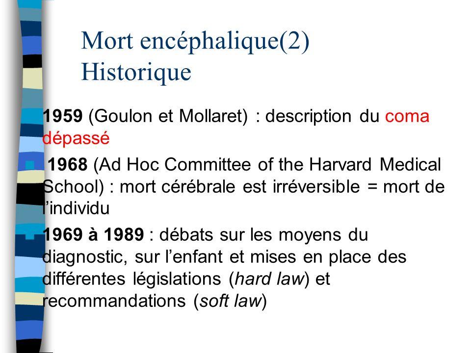 Mort encéphalique(2) Historique