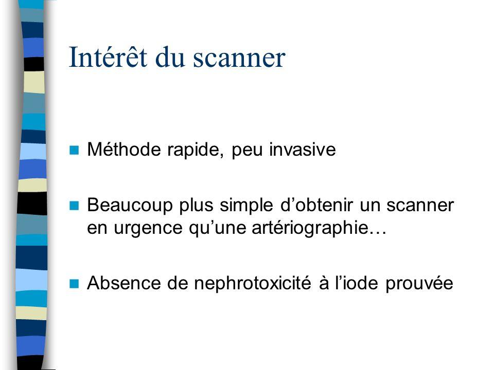 Intérêt du scanner Méthode rapide, peu invasive