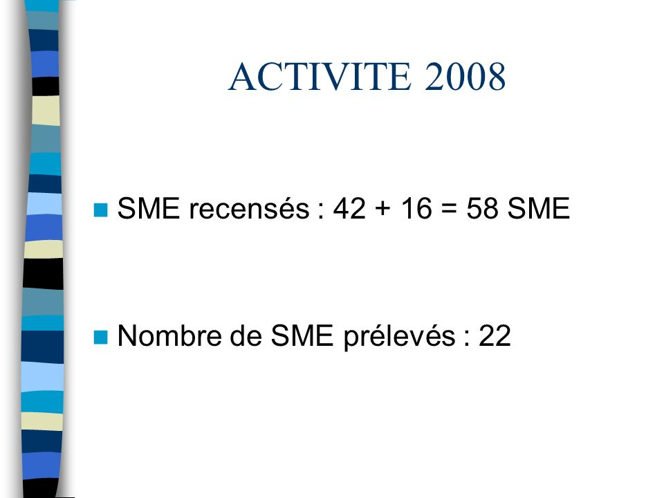ACTIVITE 2008 SME recensés : 42 + 16 = 58 SME