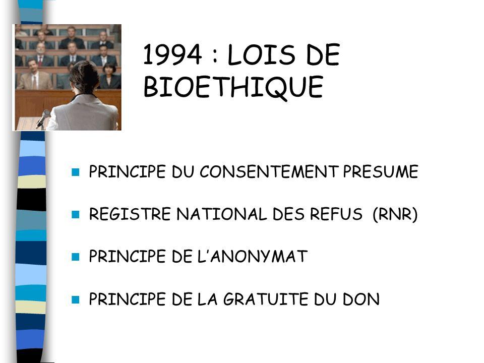 1994 : LOIS DE BIOETHIQUE PRINCIPE DU CONSENTEMENT PRESUME