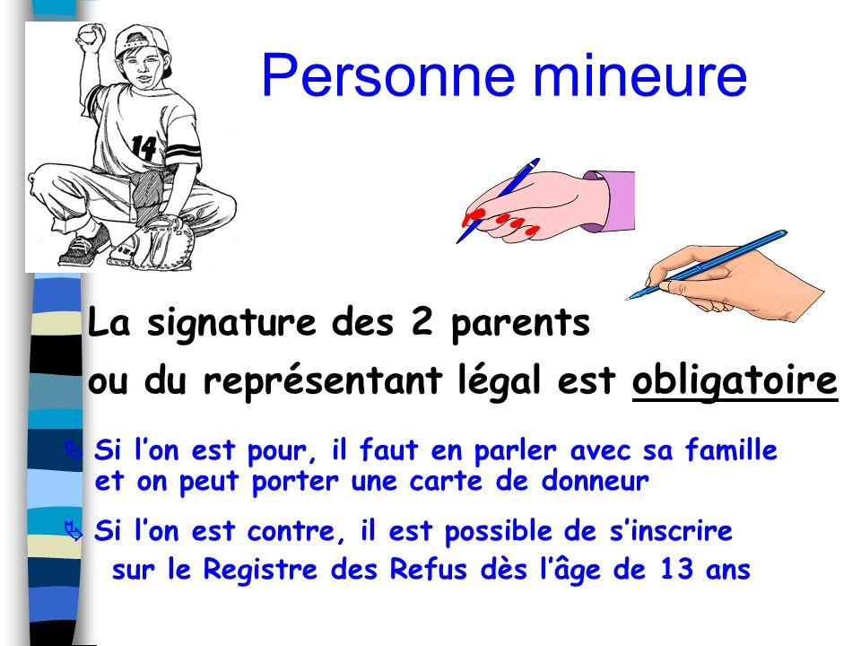 Personne mineure La signature des 2 parents