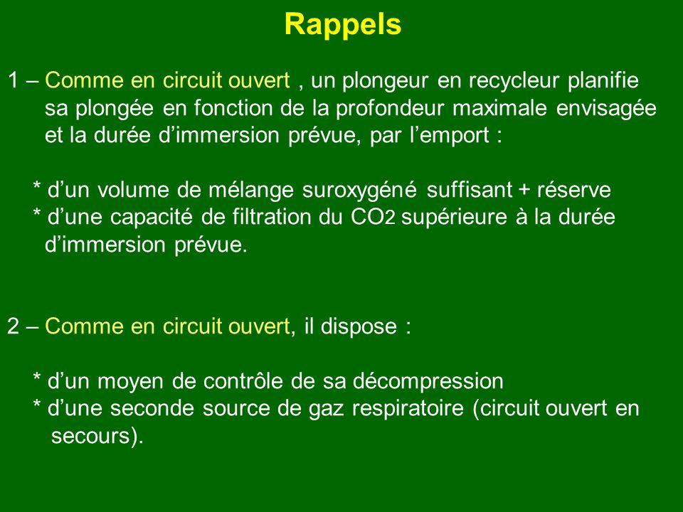 Rappels 1 – Comme en circuit ouvert , un plongeur en recycleur planifie. sa plongée en fonction de la profondeur maximale envisagée.