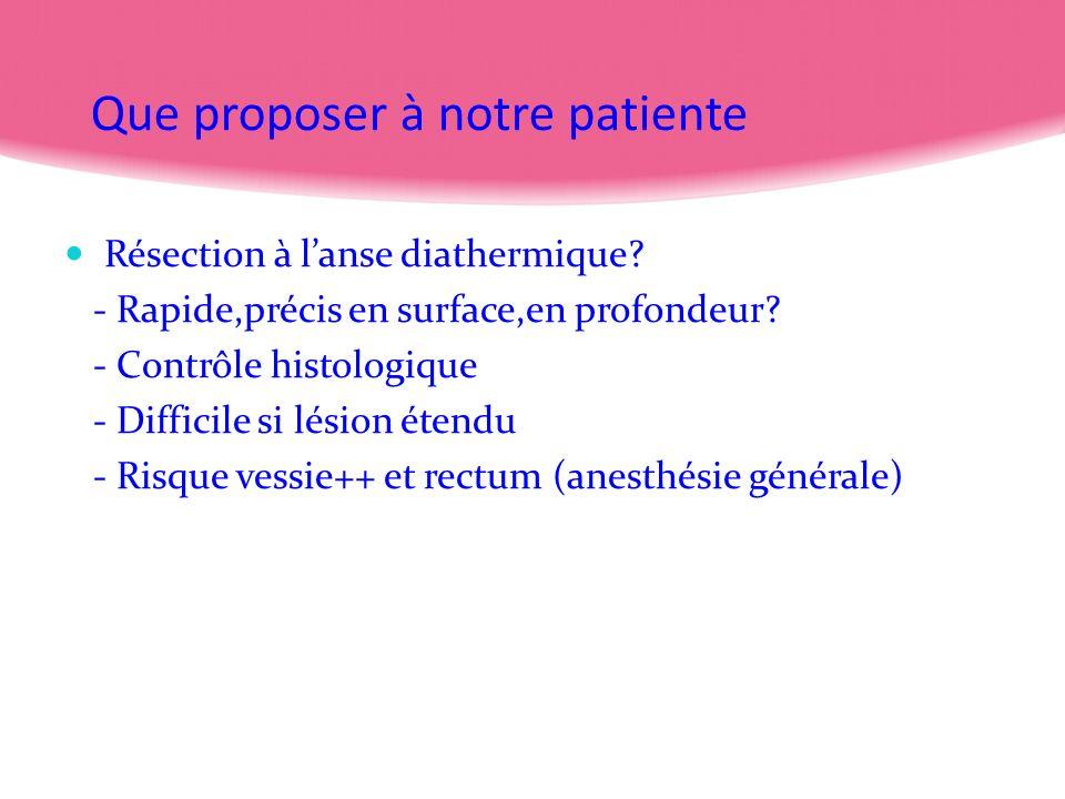 Que proposer à notre patiente