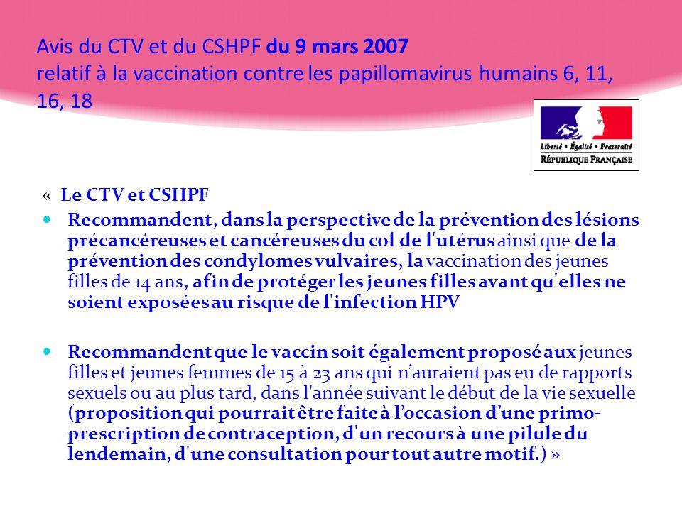 Avis du CTV et du CSHPF du 9 mars 2007 relatif à la vaccination contre les papillomavirus humains 6, 11, 16, 18