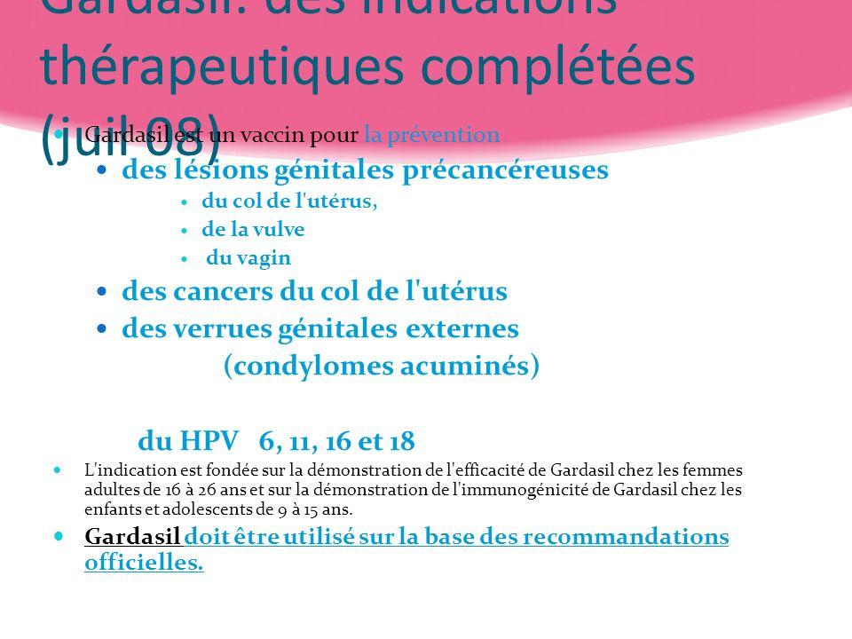 Gardasil: des indications thérapeutiques complétées (juil 08)
