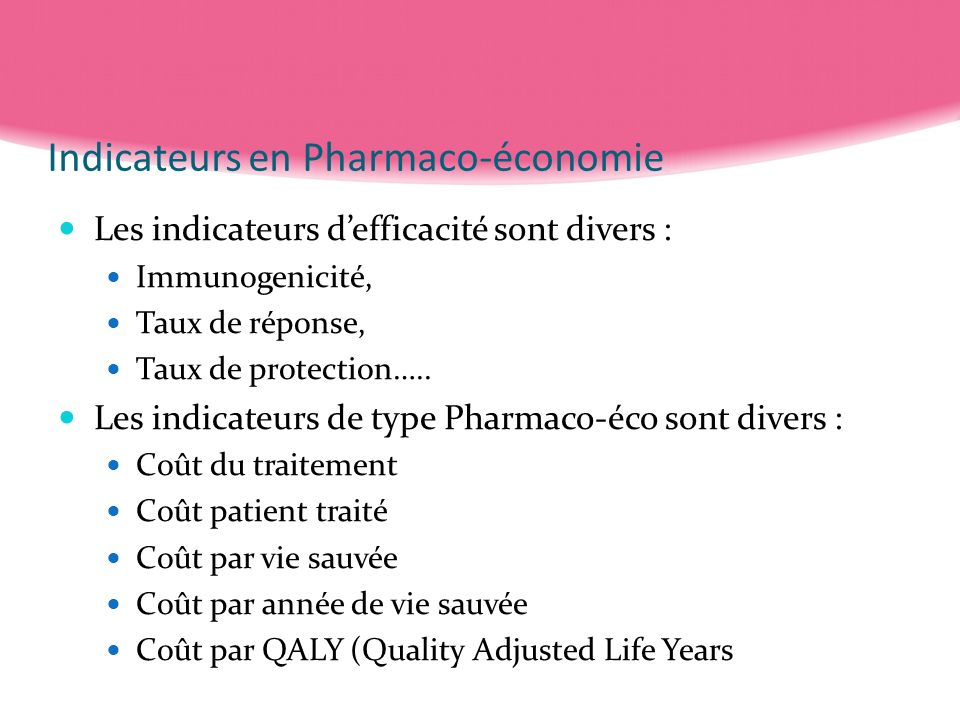 Indicateurs en Pharmaco-économie
