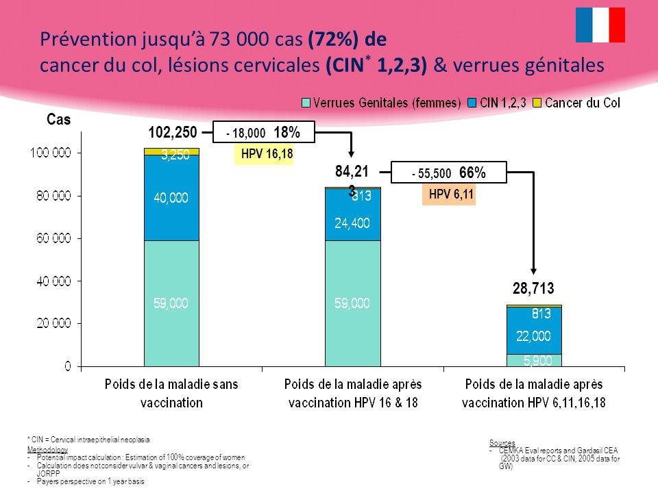 Prévention jusqu'à 73 000 cas (72%) de cancer du col, lésions cervicales (CIN* 1,2,3) & verrues génitales
