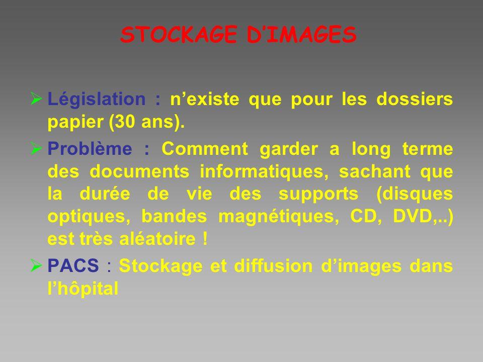 STOCKAGE D'IMAGES Législation : n'existe que pour les dossiers papier (30 ans).
