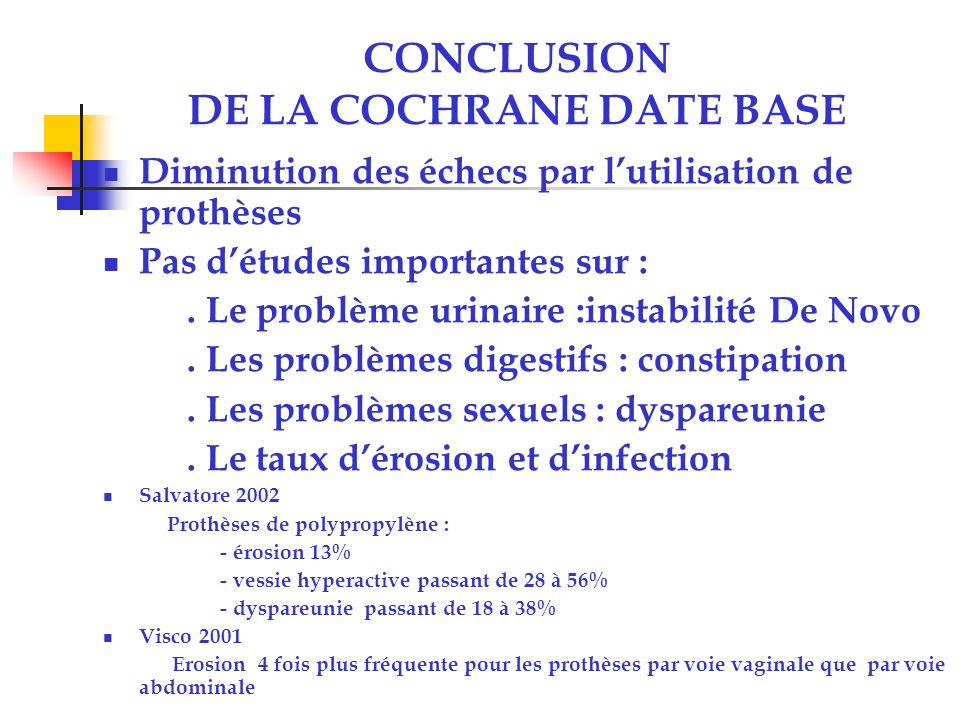 CONCLUSION DE LA COCHRANE DATE BASE