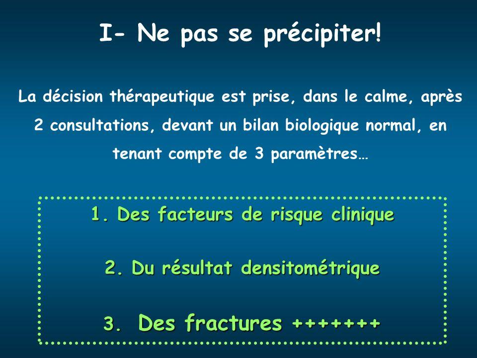 Des facteurs de risque clinique Du résultat densitométrique