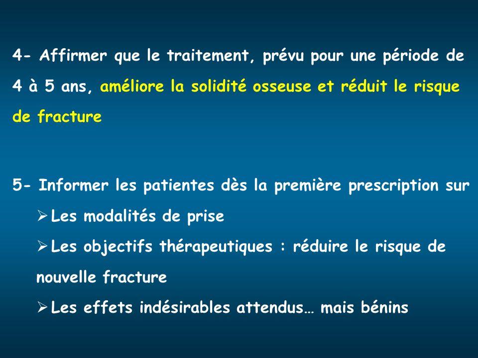 4- Affirmer que le traitement, prévu pour une période de 4 à 5 ans, améliore la solidité osseuse et réduit le risque de fracture