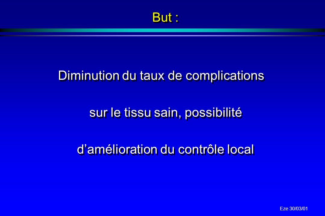 But : Diminution du taux de complications sur le tissu sain, possibilité d'amélioration du contrôle local.