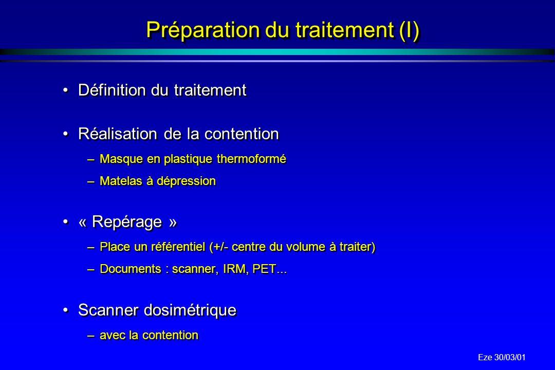 Préparation du traitement (I)