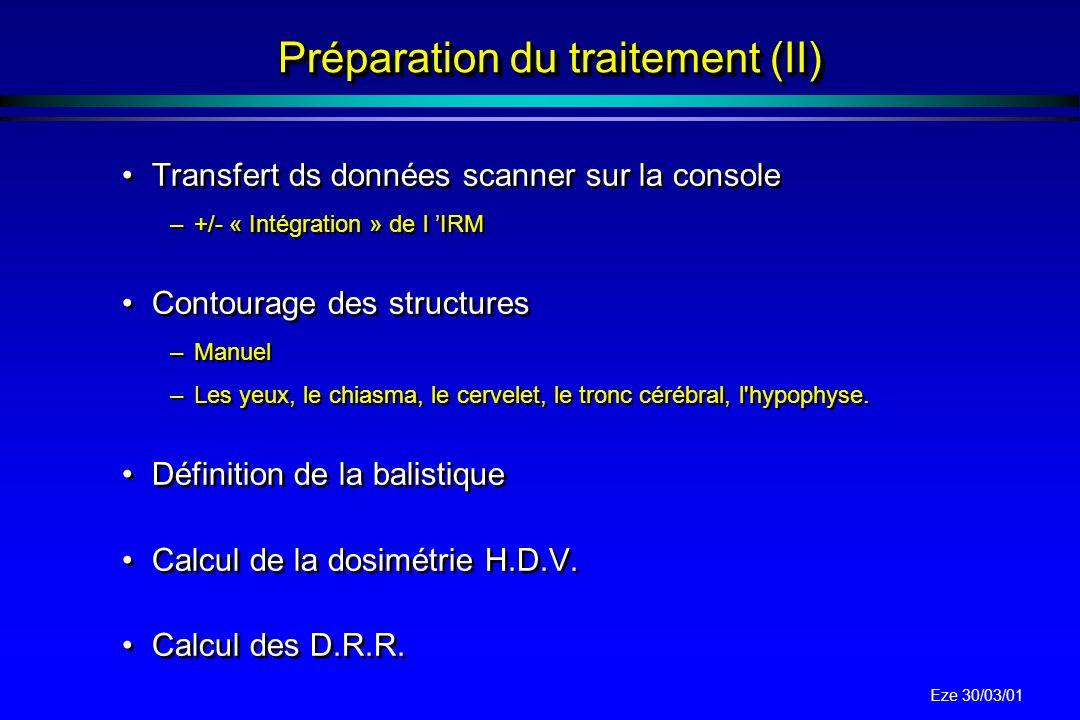 Préparation du traitement (II)