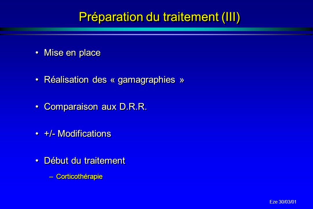 Préparation du traitement (III)