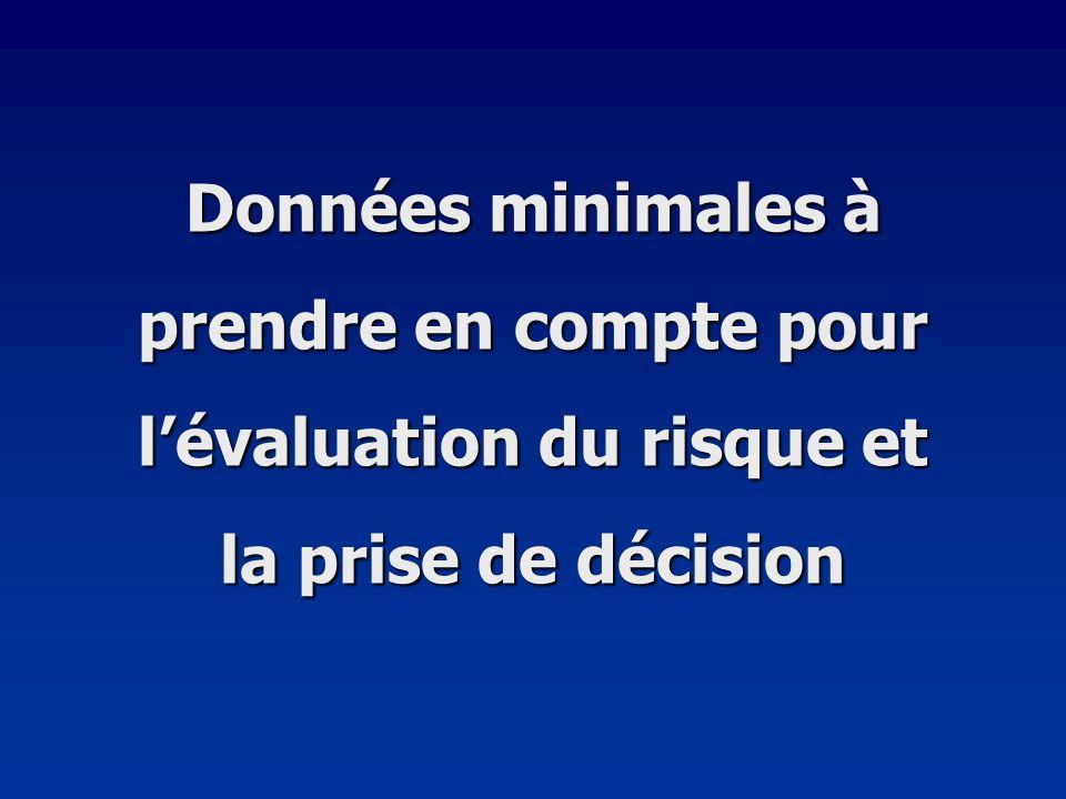 Données minimales à prendre en compte pour l'évaluation du risque et la prise de décision