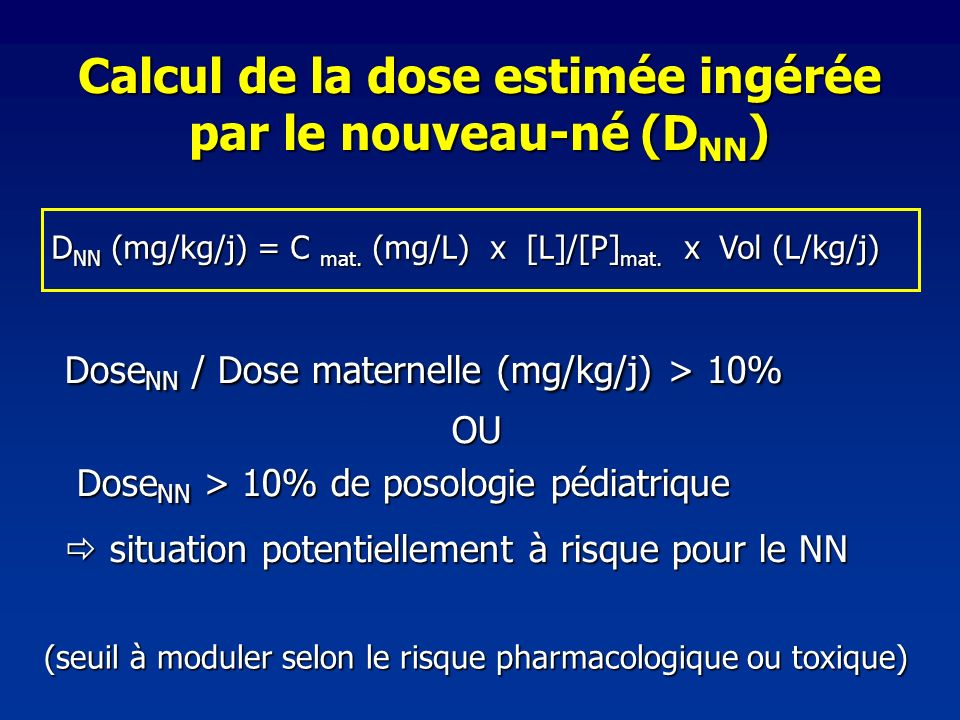 Calcul de la dose estimée ingérée par le nouveau-né (DNN)