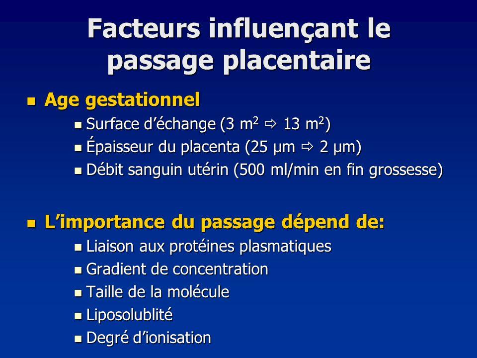 Facteurs influençant le passage placentaire