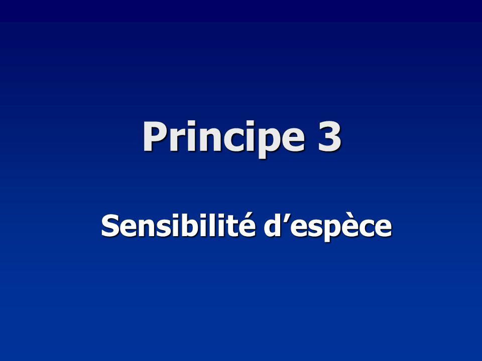 Principe 3 Sensibilité d'espèce