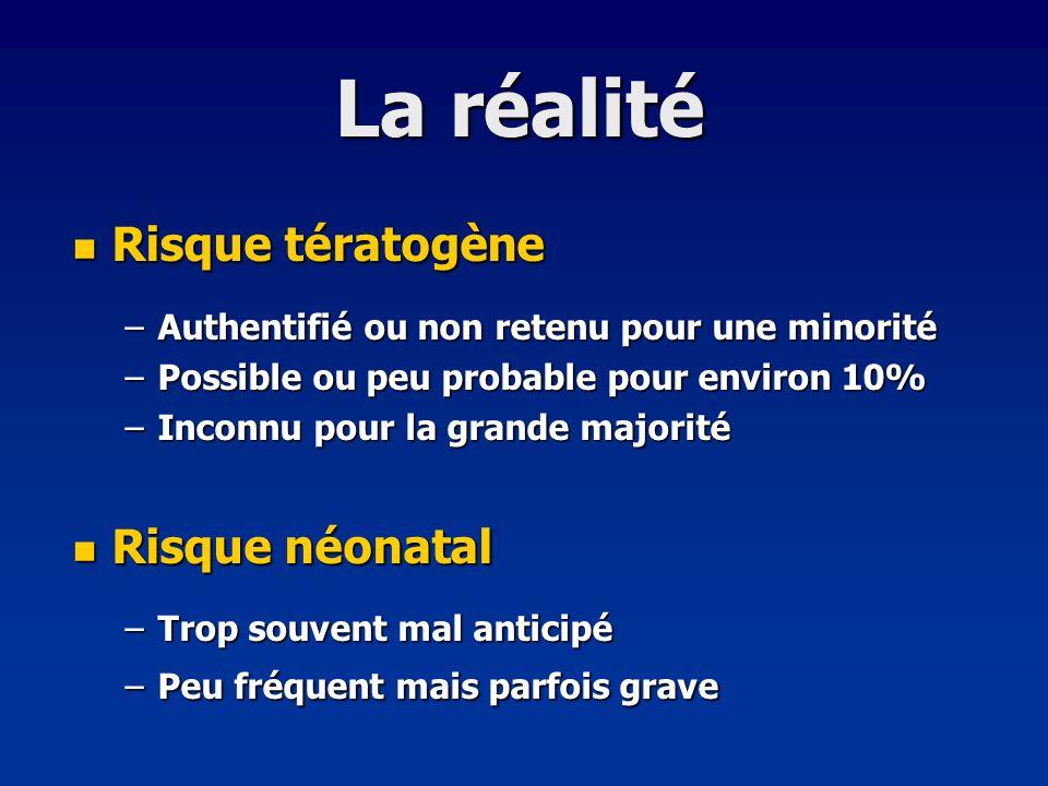 La réalité Risque tératogène Risque néonatal
