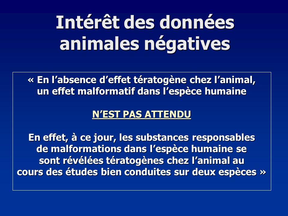 Intérêt des données animales négatives