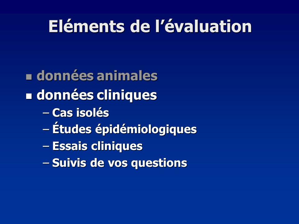 Eléments de l'évaluation