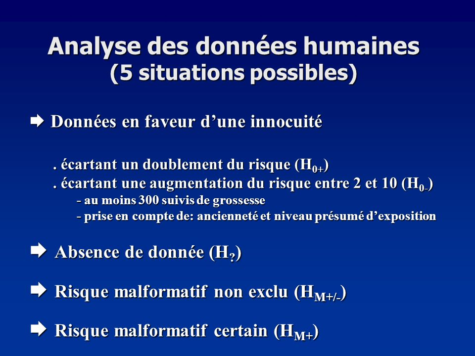 Analyse des données humaines (5 situations possibles)