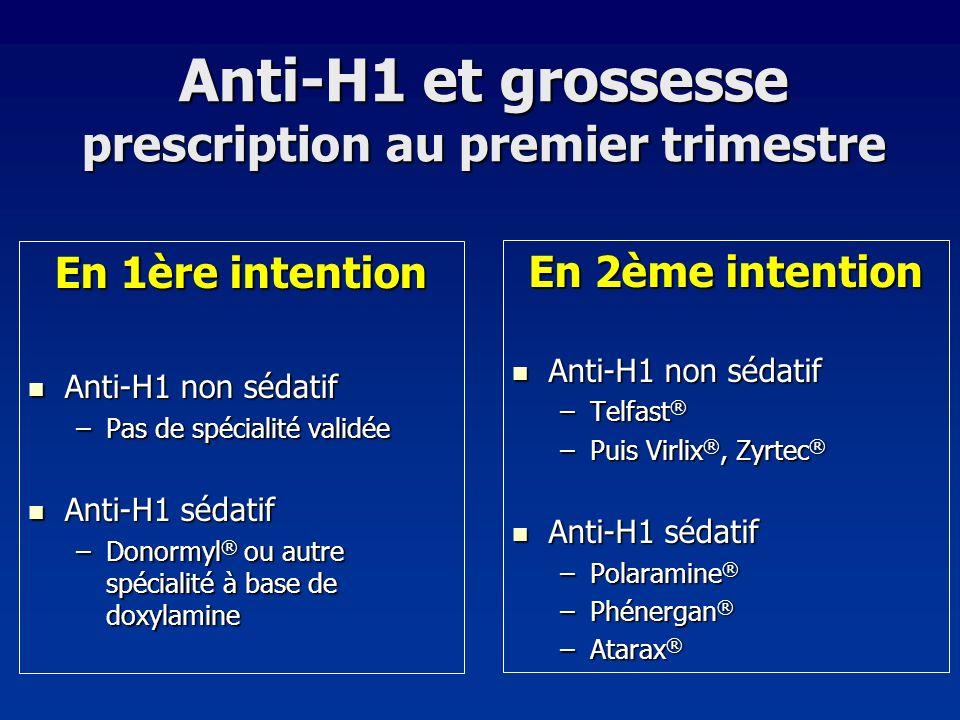 Anti-H1 et grossesse prescription au premier trimestre