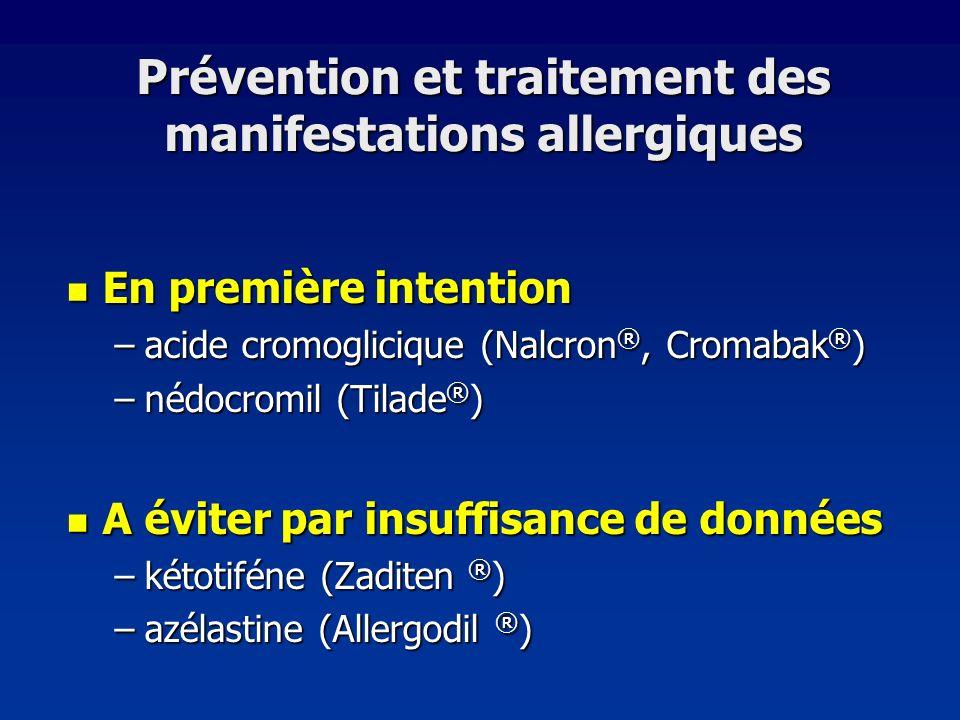 Prévention et traitement des manifestations allergiques