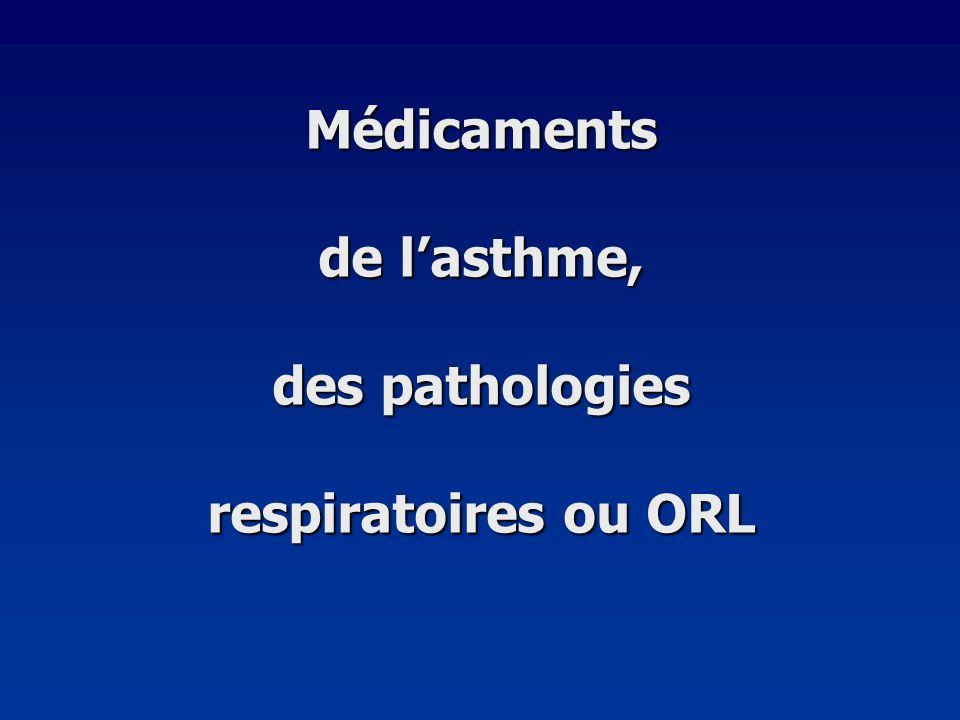 Médicaments de l'asthme, des pathologies respiratoires ou ORL