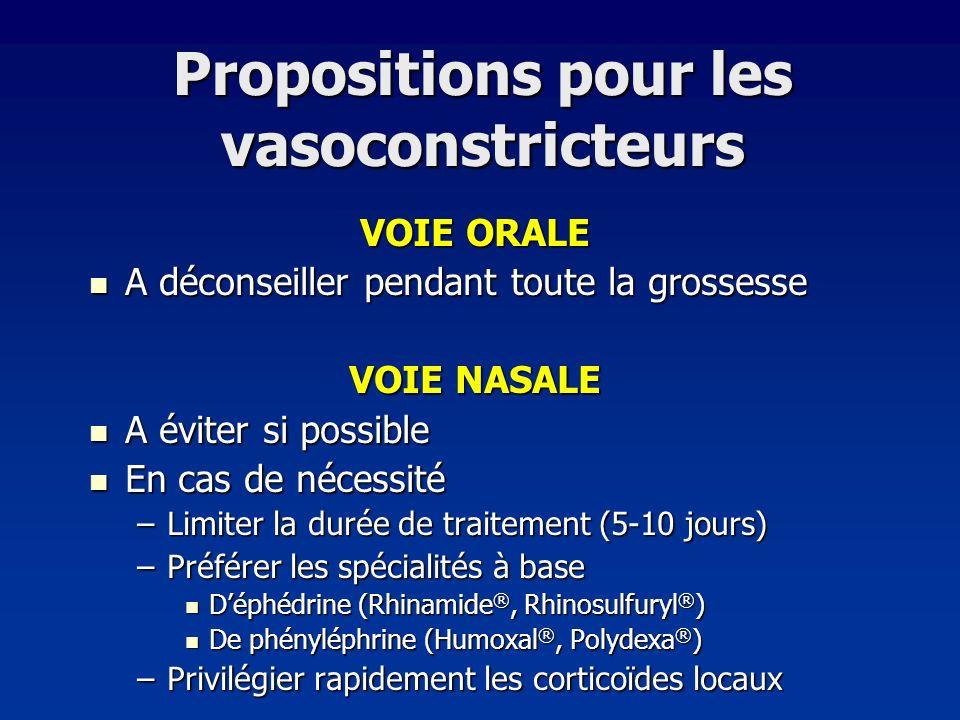 Propositions pour les vasoconstricteurs