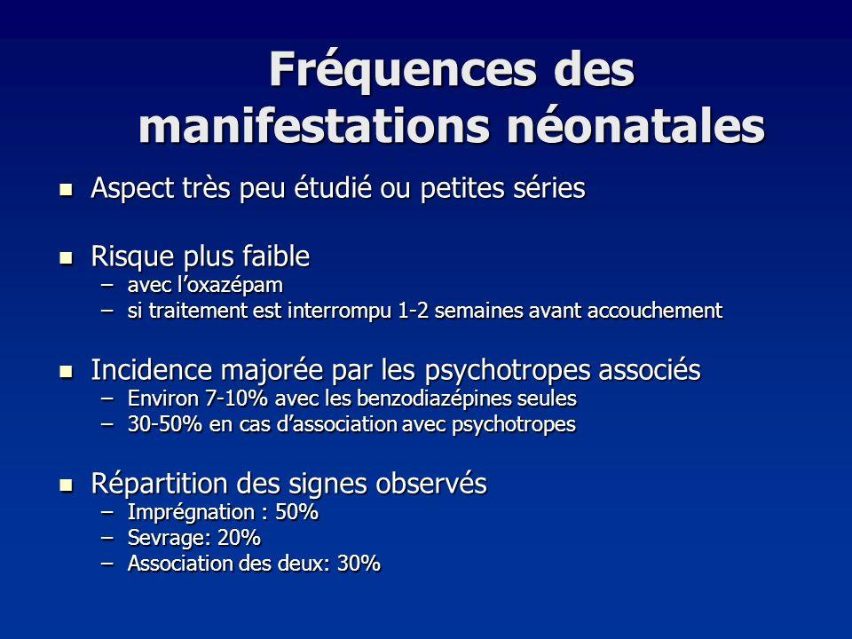 Fréquences des manifestations néonatales
