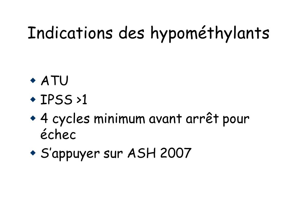 Indications des hypométhylants