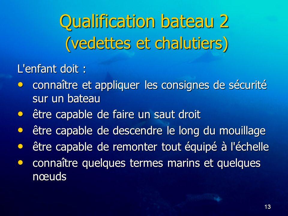 Qualification bateau 2 (vedettes et chalutiers)