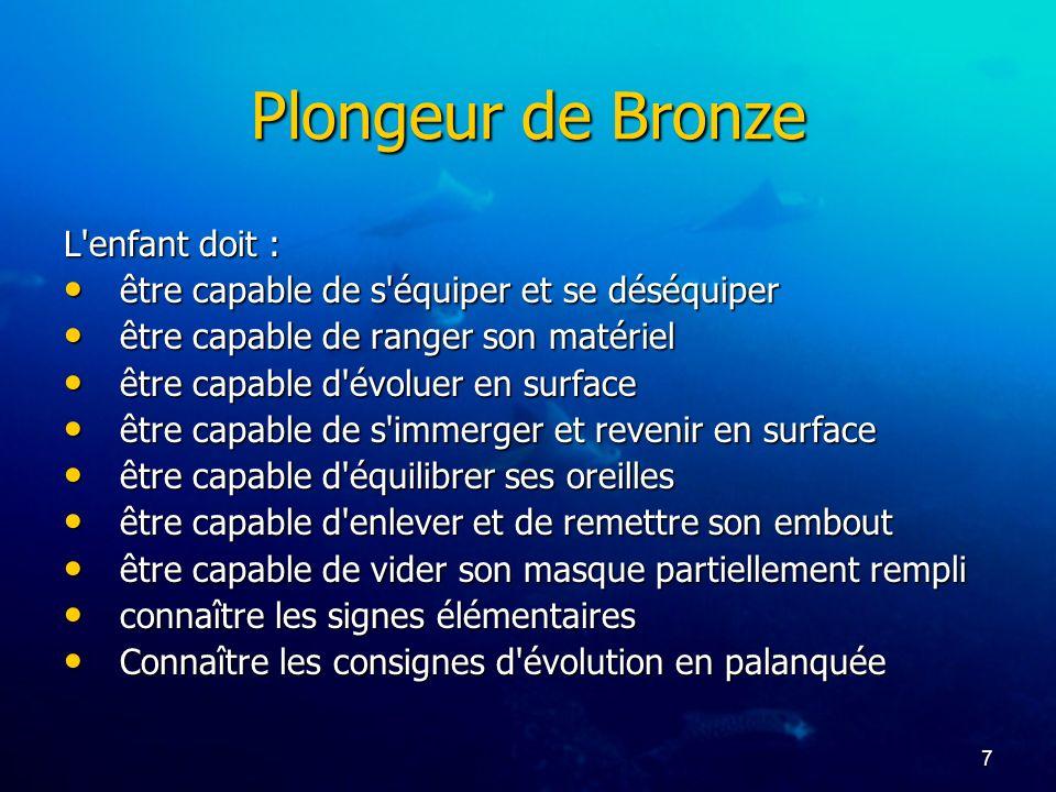 Plongeur de Bronze L enfant doit :