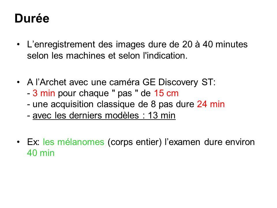 Durée L'enregistrement des images dure de 20 à 40 minutes selon les machines et selon l indication.