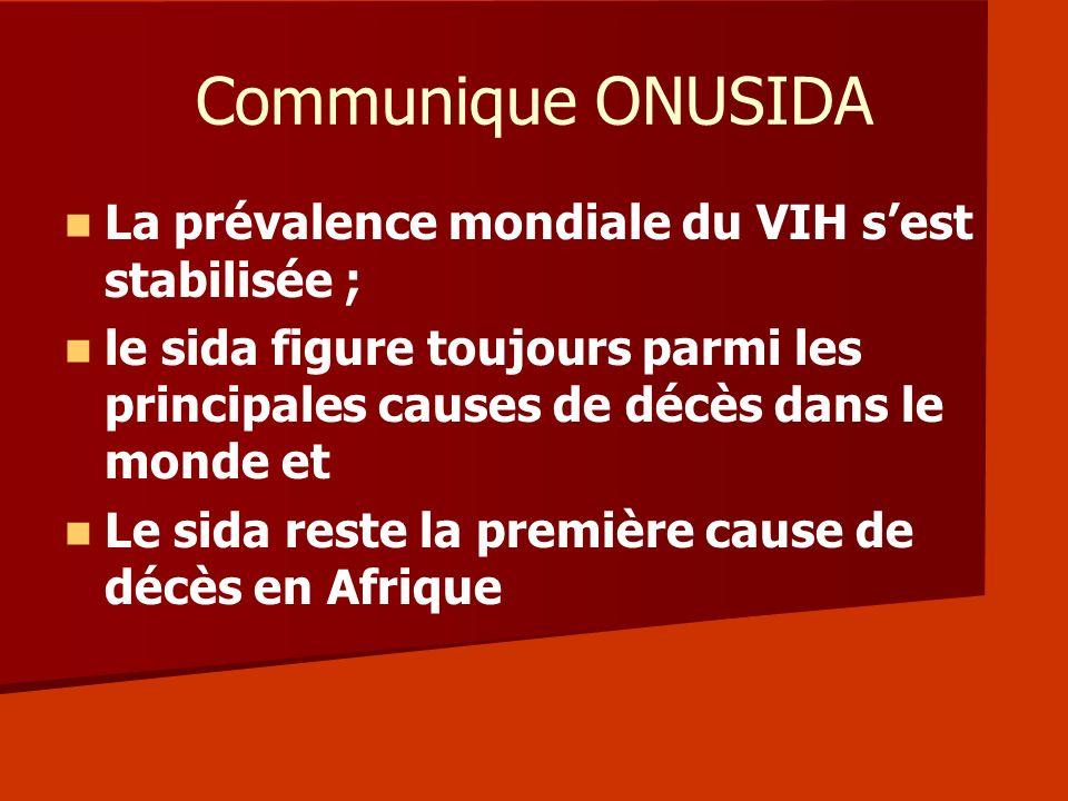 Communique ONUSIDA La prévalence mondiale du VIH s'est stabilisée ;