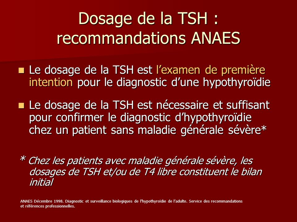 Dosage de la TSH : recommandations ANAES
