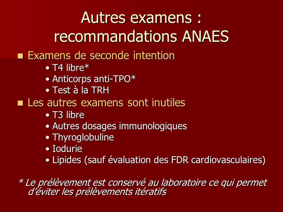 Autres examens : recommandations ANAES