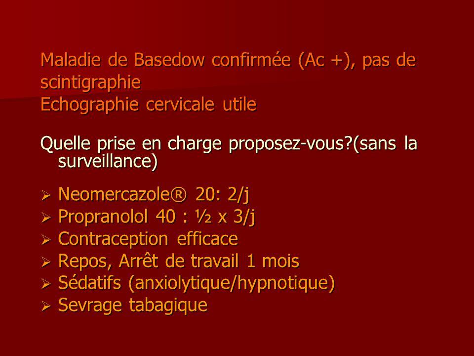 Maladie de Basedow confirmée (Ac +), pas de scintigraphie Echographie cervicale utile