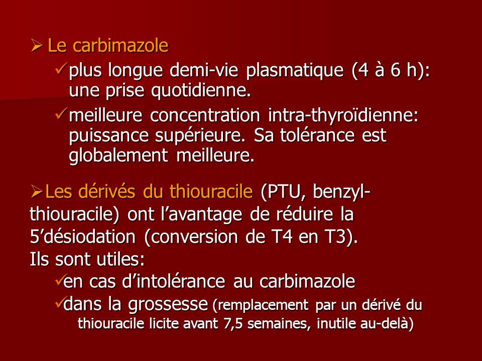 Le carbimazole plus longue demi-vie plasmatique (4 à 6 h): une prise quotidienne.