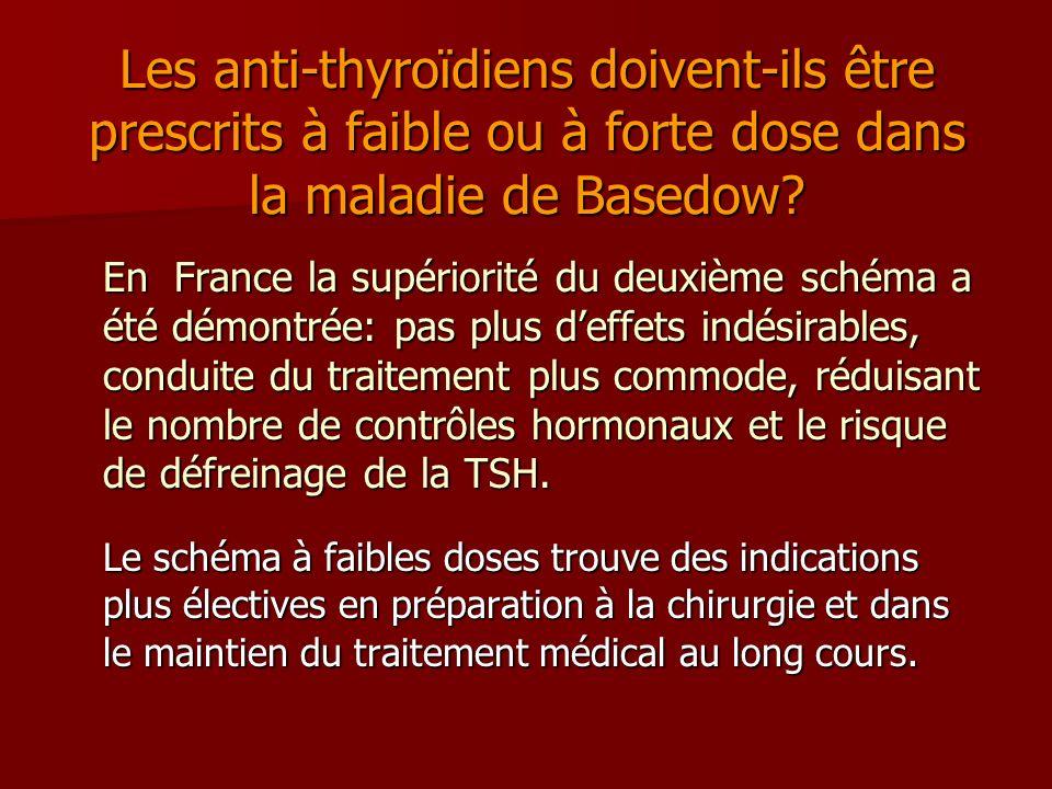 Les anti-thyroïdiens doivent-ils être prescrits à faible ou à forte dose dans la maladie de Basedow