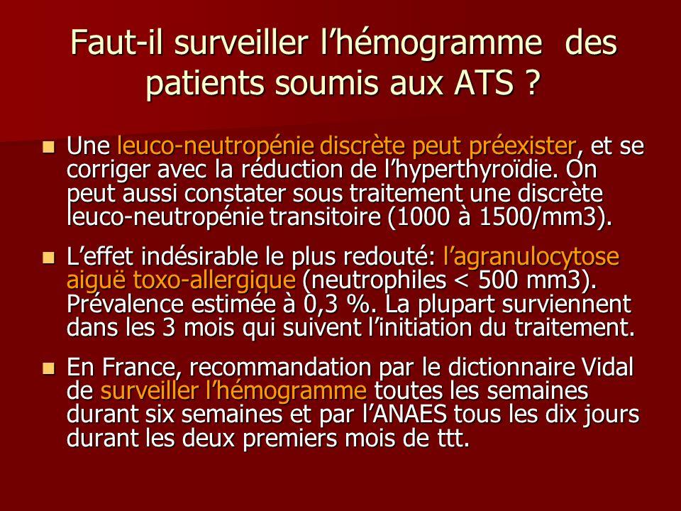 Faut-il surveiller l'hémogramme des patients soumis aux ATS